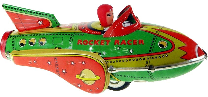 Rocket Racer Space Ship Tin Toy Friction Powered Engine Sound MF735 - SALE!