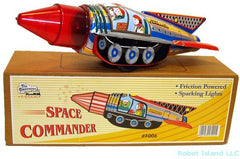 Commander Astronaut Space Rocket Tin Toy Sparkling Action!