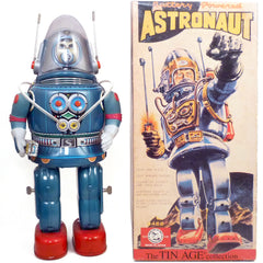Blue Rosko Astronaut Robot Osaka Tin Toy Japan Battery Operated