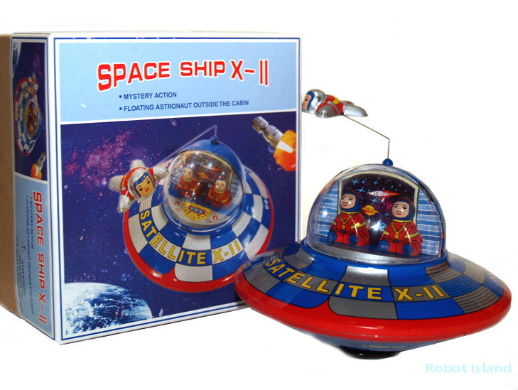 Space Ship Flying Saucer X-11 Tin Toy Windup