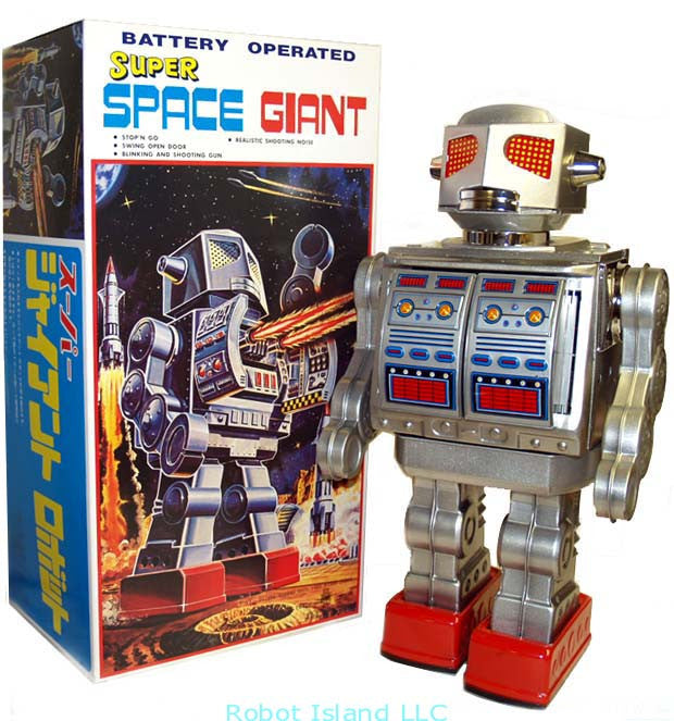 "Metal House Super Space Giant Tin Toy Battery Operated 16"" Tall"