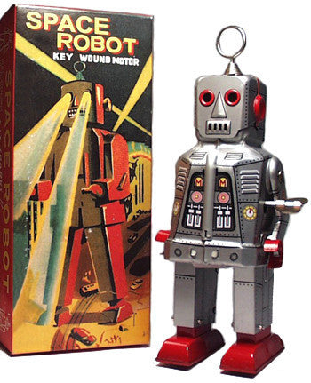 Sparky Space Robot Tin Toy Wind Up Silver