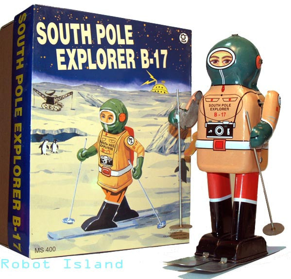 Skiing Robot South Pole Explorer Tin Toy