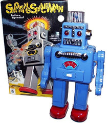 Blue Smoking Spaceman Robot Tin Toy Battery Operated SALE!