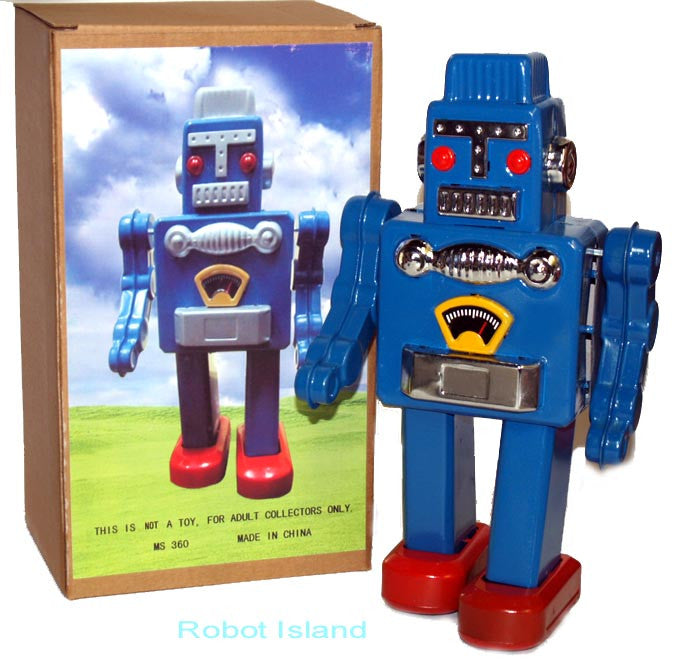 Smoking Spaceman Robot Wind-Up Non Smoker Blue
