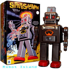 Black Smoking Spaceman Robot Tin Toy Battery Operated - SOLD OUT.