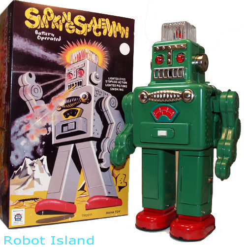 Green Smoking Spaceman Robot Tin Toy Battery Operated GREEN - SALE!