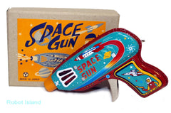 Yonezawa Space Gun Tin Toy Japan Friction Toy - Light Blue Version