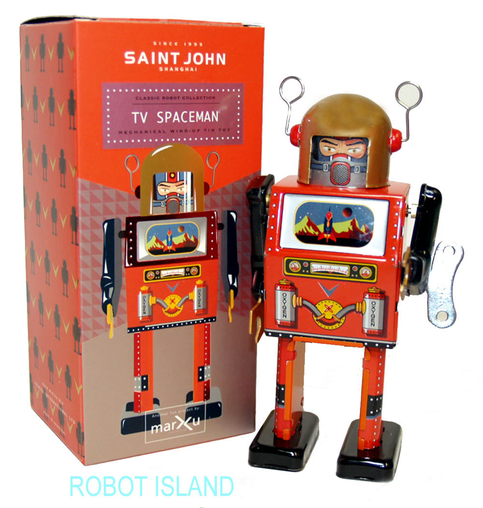 TV Spaceman Robot Windup Tin Toy St. John Toys Edition