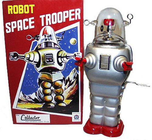 Robby the Robot Space Trooper Tin Toy Windup Silver