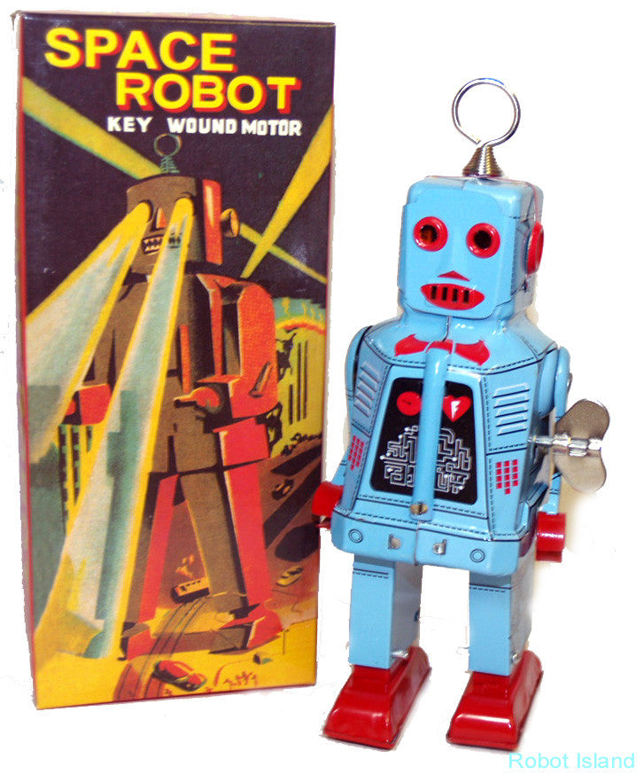Sparky Robot Powder Blue Tin Toy Windup Canadian Edition - SOLD OUT!