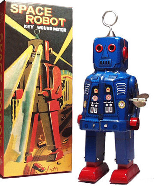 Sparky Robot Tin Toy Wind Up Blue - IN STOCK!
