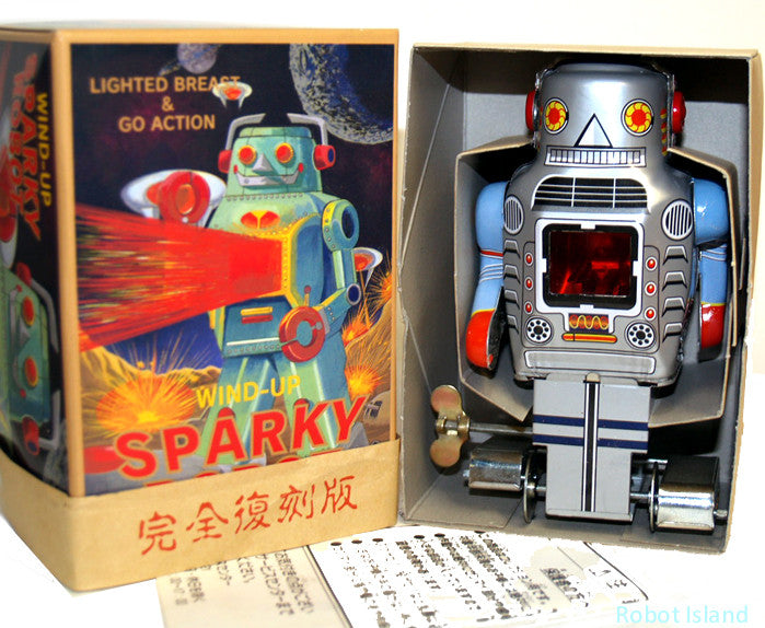 Sparky Robot Ichiko Japan Wind up Silver