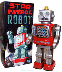 Metal House Robot Tin Toy Japan Star Patrol II Battery Operated