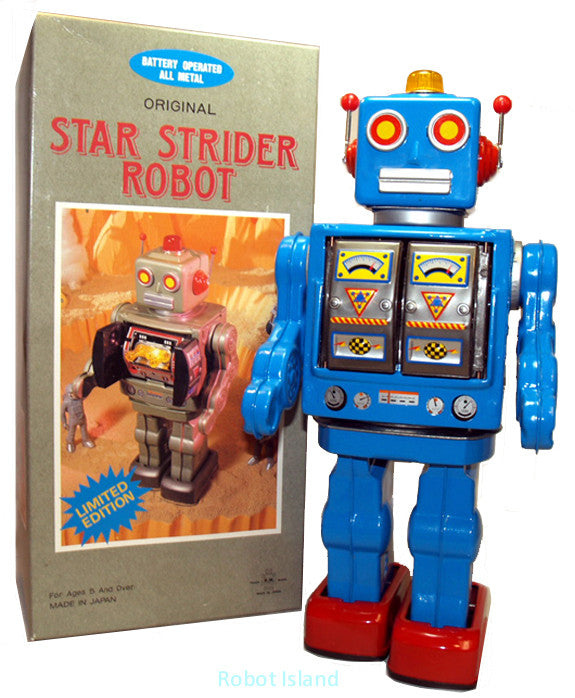 Blue Metal House Robot Star Strider Robot Japan Tin Toy Battery operated Horikawa