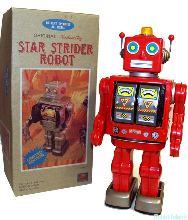 JUST ARRIVED - Star Strider Robot Horikawa Japan Tin Toy Battery Operated Red