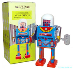Astro Captain Robot Windup Tin Toy St. John Toys Edition