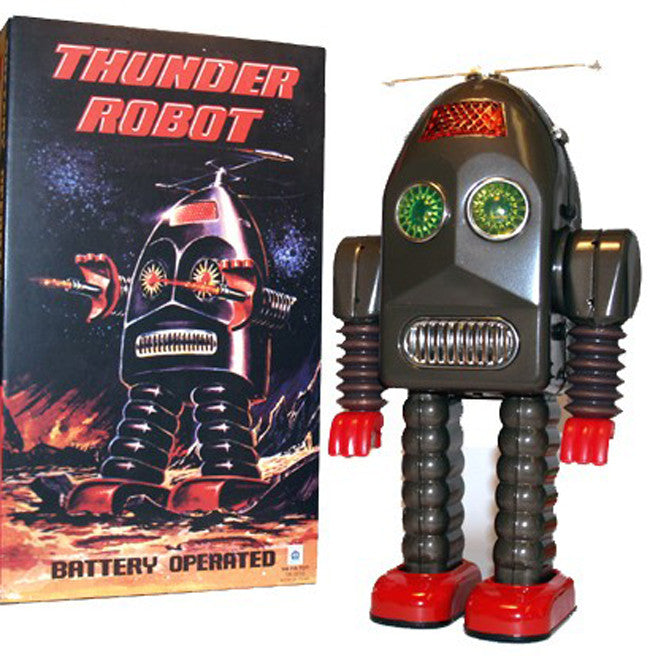 Just Arrived! Thunder Robot Brown Tin Toy Battery Operated HaHaToys Version