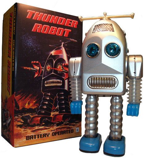 Thunder Robot Silver Tin Toy Battery Operated