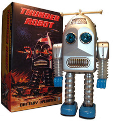 JUST ARRIVED! Thunder Robot Silver Tin Toy Battery Operated