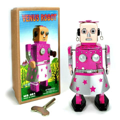 JUST ARRIVED! Girl Robot Venus Tin Toy Windup