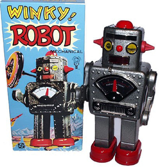 Winky Robot Silver Windup Tin Toy - SOLD!