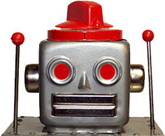 featured robot island tin toy robots