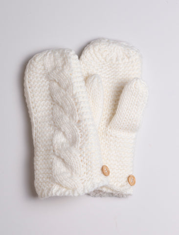Plush Mittens - white