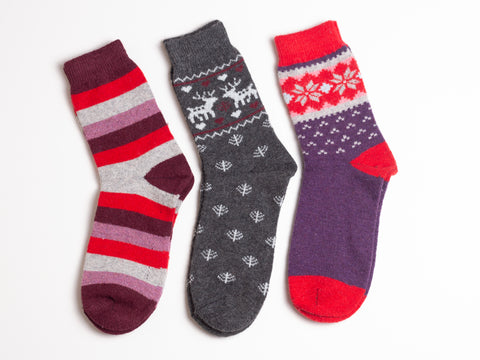SNOWFLAKE SOCKS - Assorted/3 pairs (as shown)