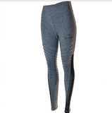 Medium Waisted Moto Leggings (Heather Grey)