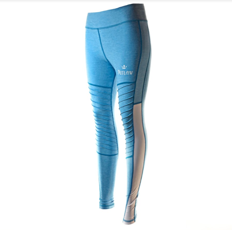 Medium Waisted Outlaw Moto Leggings (Blue)
