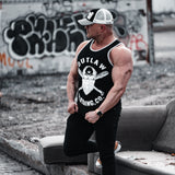 Men's Black and Gray Ringer Skull Tank