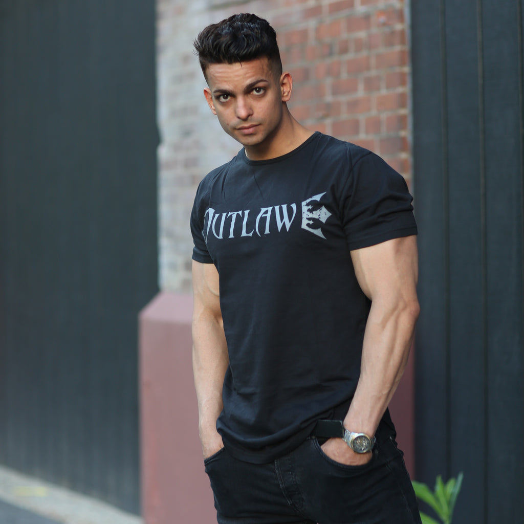 Outlaw Black and White Scoop Neck T Shirts