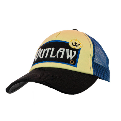 Outlaw Vintage Distressed Trucker Cap - Blue