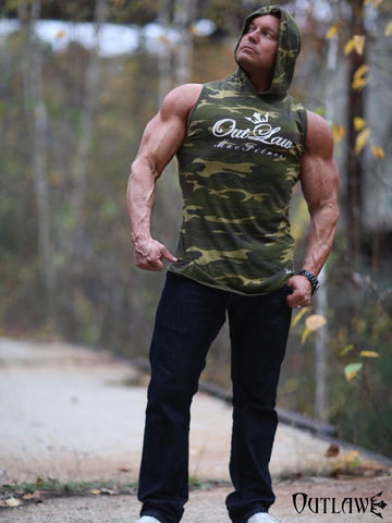 Men's Outlaw Assassin Fitted Camo Sleeveless Hoodie