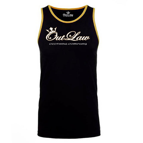 Men's Black and Gold Ringer Tank