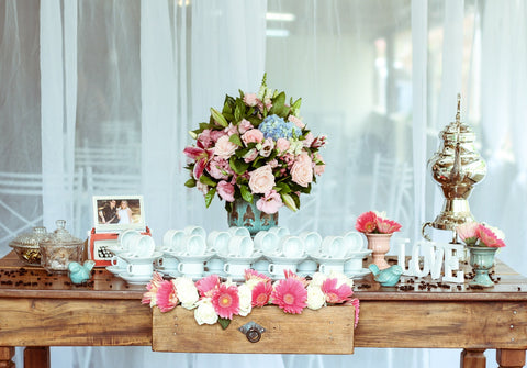 summer wedding colour scheme vintage pink and duck egg