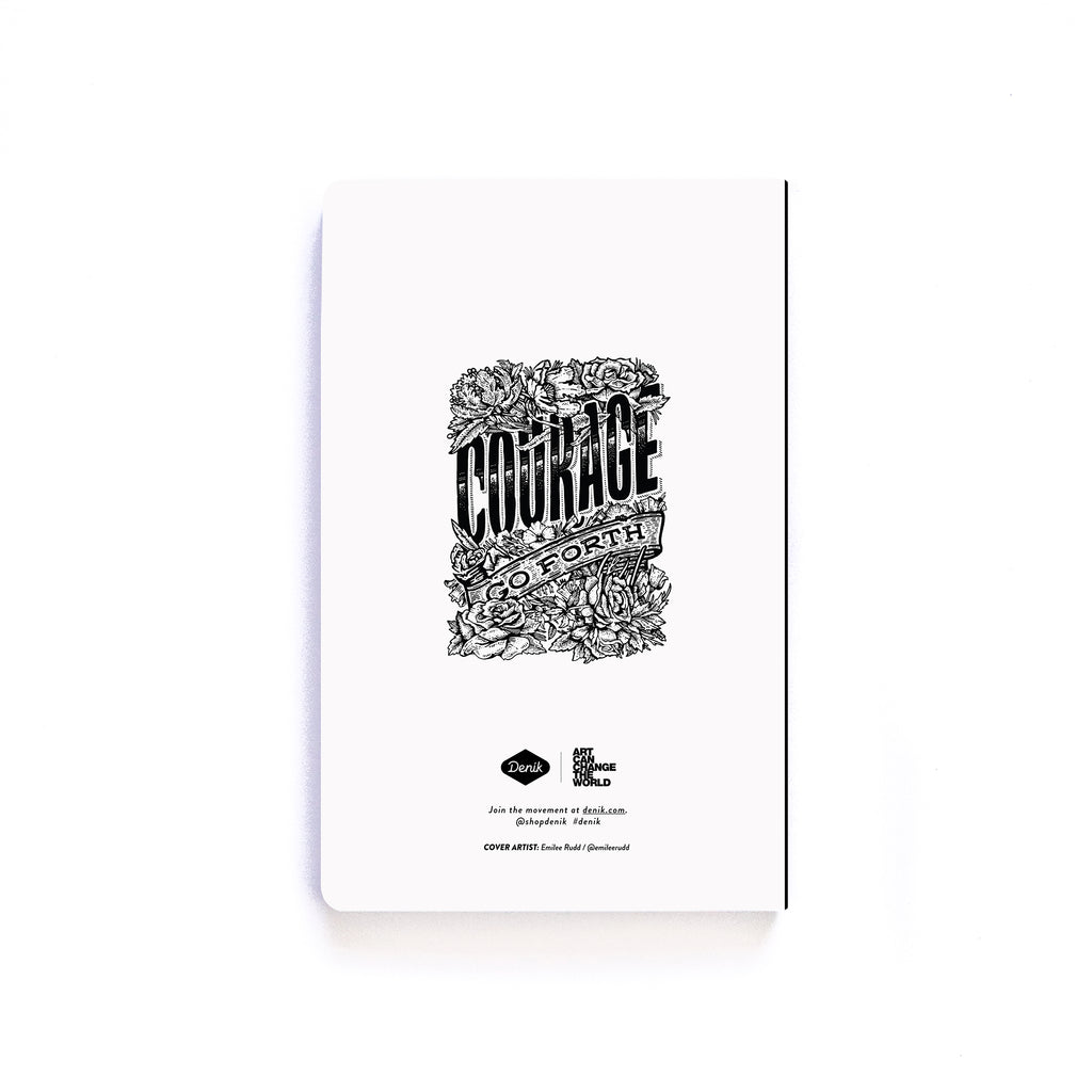 Courage Go Forth BW Softcover Notebook