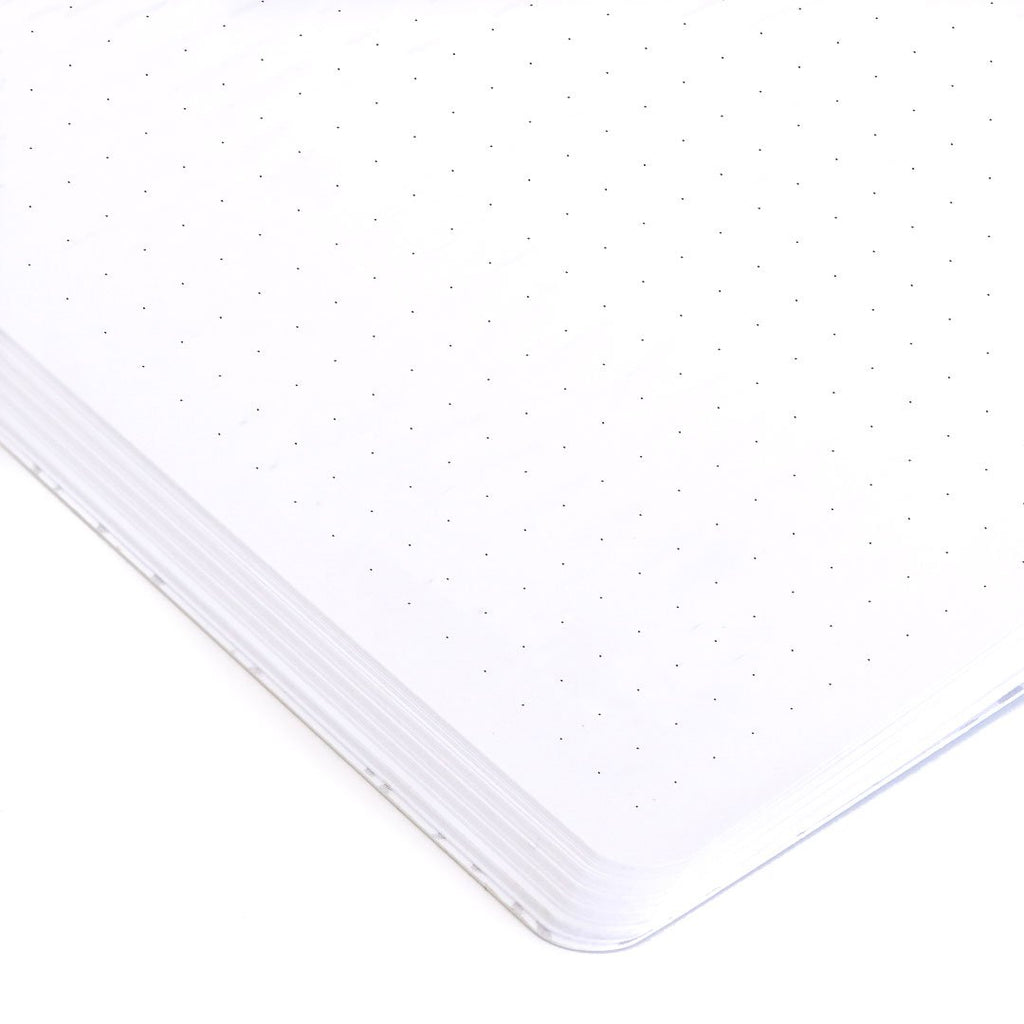 Flourish Brown Softcover Notebook dot grid page closeup