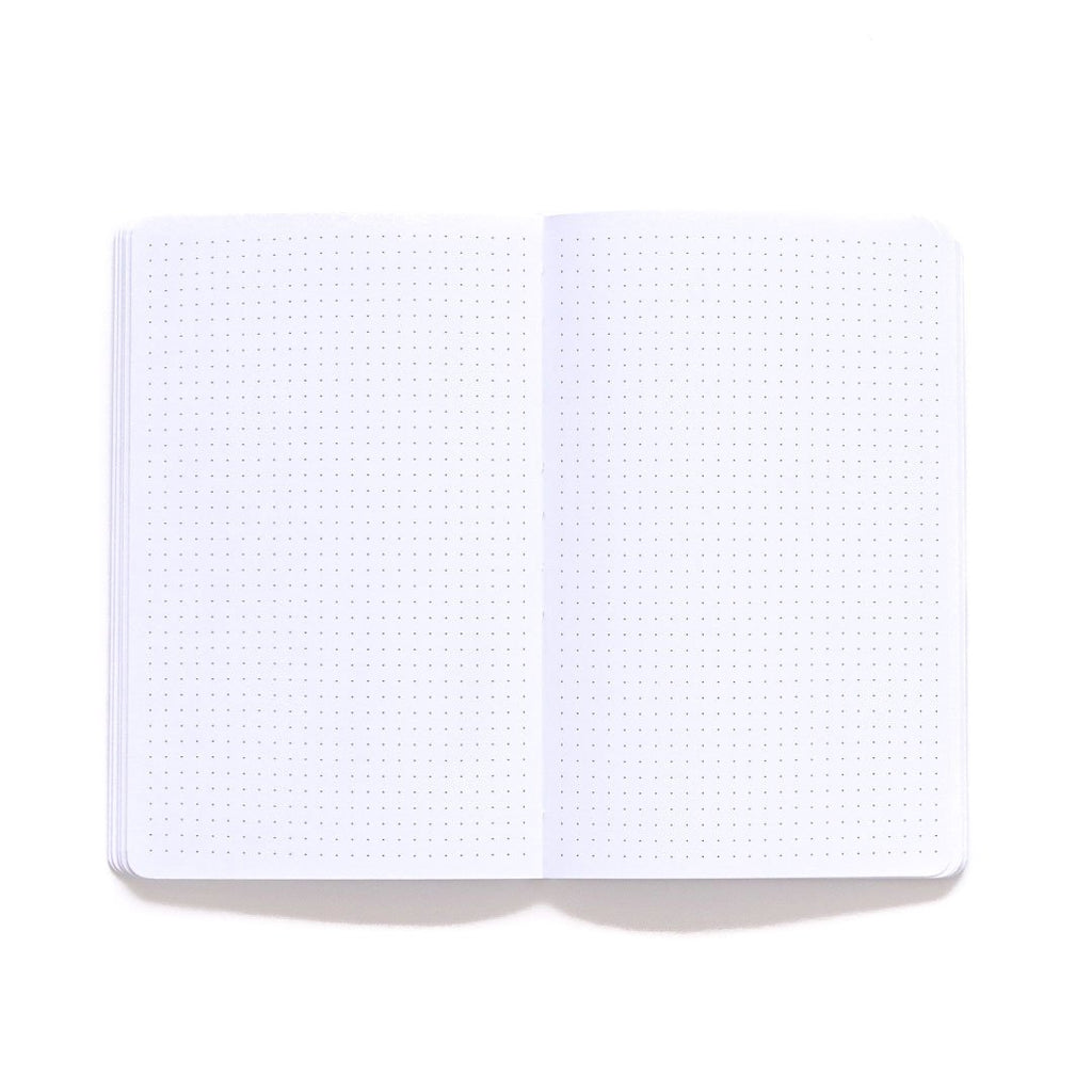 Courage Go Forth BW Softcover Notebook dot grid page spread
