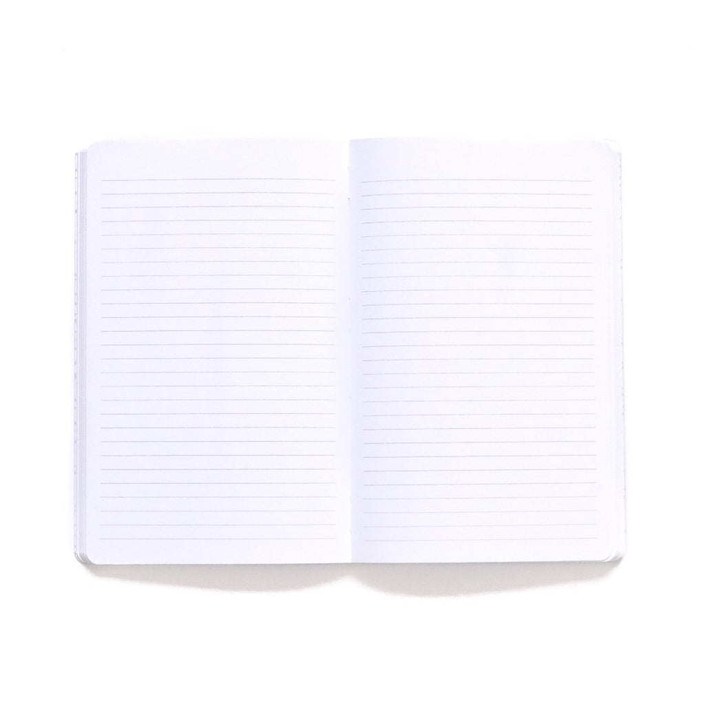 Lavender Softcover Notebook lined page spread