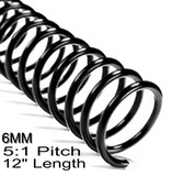 "6MM 5:1 Pitch 12"" Length Coil / Spiral Binding"