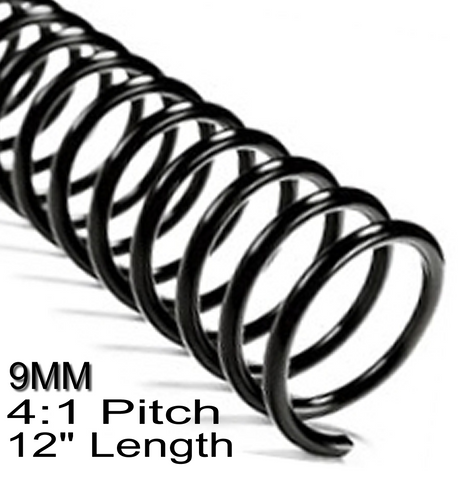 "9MM 4:1 Pitch 12"" Length Coil / Spiral Binding"