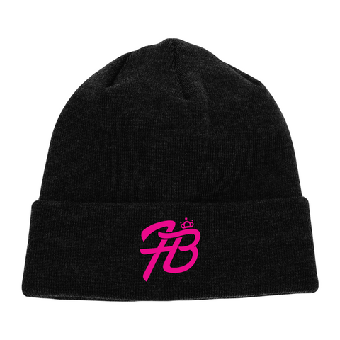 Holly Live: Beanie (Black Beanie, Pink Logo)