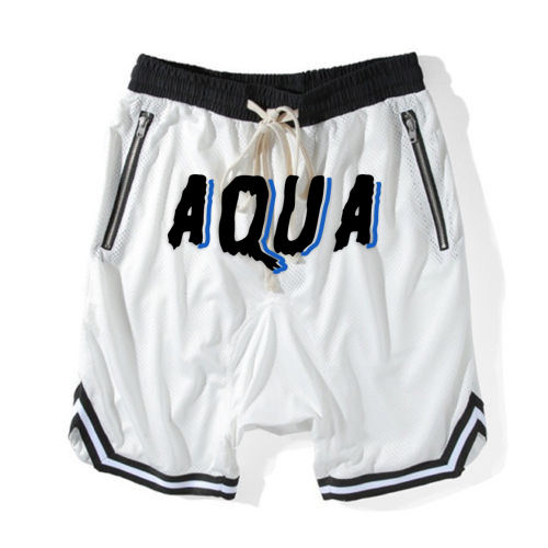 Aqua White and Black Shorts
