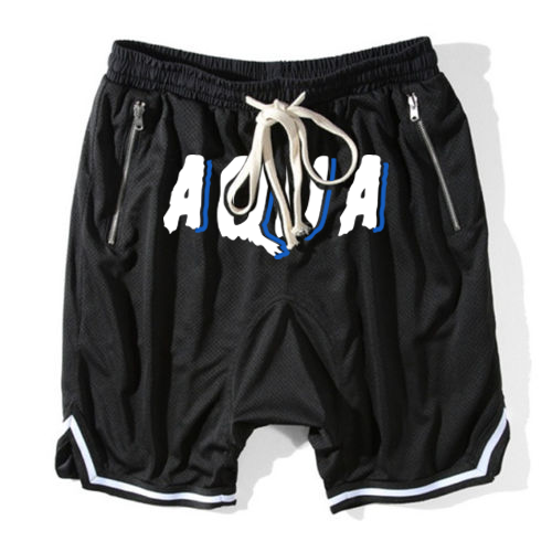 Aqua Black and White Shorts