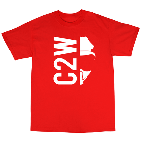 CO2W Split Design T shirt ( Red Shirt/ White Print )