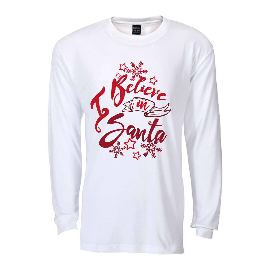 I believe in Santa Long sleeve T shirt : White&Red