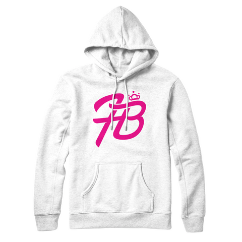 Holly Live : Holly HB Crown Logo Hoodie ( White Hoodie Pink Logo )