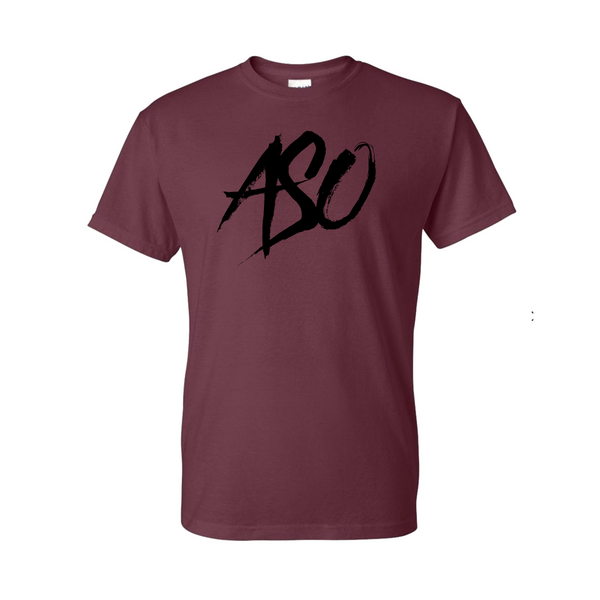 ASO Squad  Mahogany Red T shirt Black Logo